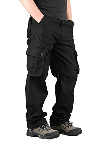 VITryst Men's Pockets Straight Leg Outwear Long Pants Wide Leg Pants Black 29