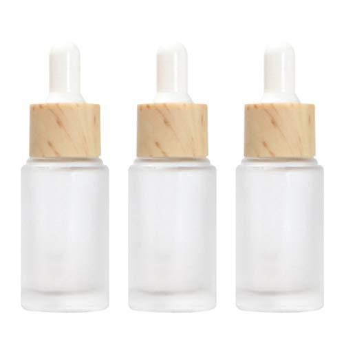 Minkissy 3 botellas de cristal transparente con gotas de cristal y recipientes rellenables para maquillaje con vetas de madera para perfume líquido de aceites esenciales, 20 ml