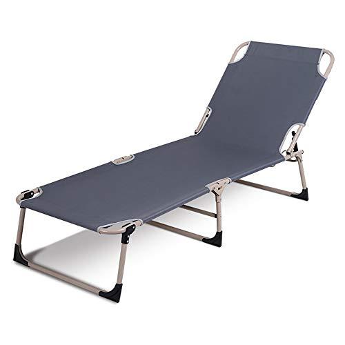 HAIYU- zonnebank grijs gewatteerde opklapbare relaxer ligstoel zomer zonnebank met verstelbare rugleuning plooien plat ligstoel voor binnen en buiten gebruik