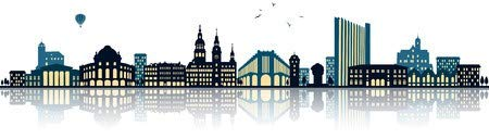adrium Holz-Bild 180 x 50 cm: Chemnitz Skyline (Germany) Illustration Isolated on White, Bild auf Holz
