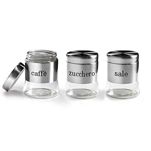 Set 3 barattoli tris barattolini cucina sale-zucchero-caffè in vetro e accciaio inox 11*14 cm 750 ml OYO-772016