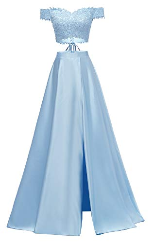 yinyyinhs Damen Zwei Stücke Spitze Satin Abendkleider von der Schulter geschnitten Lange Formale Abendkleider Größe 54 Himmel Blau
