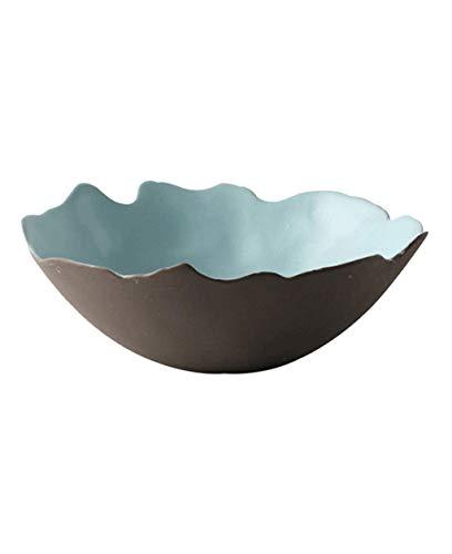 Cuenco de cerámica de LJW Tazón de cerámica Cuenco de cerámica japonés, tazón de fuente de arroz en forma irregular de cuenco de cuenco de cocina de cuenco de la cocina de 6,8 pulgadas de ensalada gra