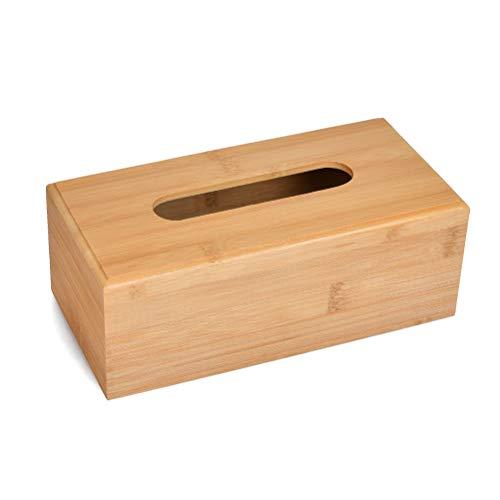 FOROREH Dispensador de Pañuelos Caja Cosméticos Bambú, Dispensador de Pañuelos Caja Dispensador para Pañuelos, Caja de Pañuelos de Bambú, Dispensador de Pañuelos de Papel con Fondo Extraíble