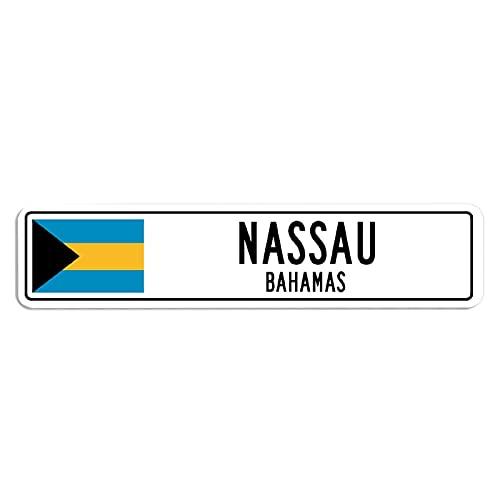 ChristBess Nassau, Bahamas Straßenschild Bahamian Flagge Stadt Land Straße Wand Geschenk Metallschild 10,2 x 45,7 cm
