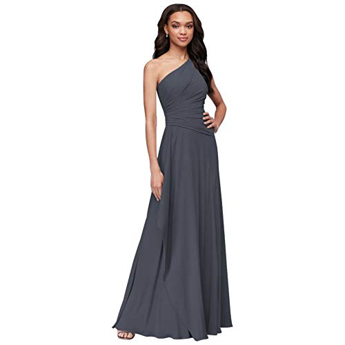 One-Shoulder Georgette Cascade Bridesmaid Dress Style F19832, Pewter, 26