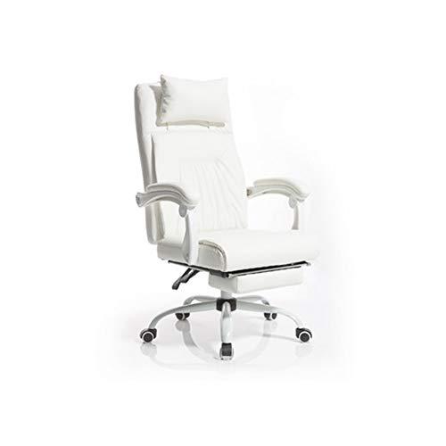 ADHKCF Racing Style Executive Computer Gaming-Bürostuhl Hohe Rückenlehne Ergonomisches Design mit Verstellbarer Fußstütze und Kopfstütze (Farbe : Weiß, Stil : B)