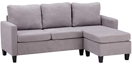 Sofá de combinación seccional de muebles para sala de estar moderna tela de lino en forma de L gris claro sofá de 3 asientos