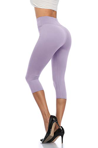 ANNISHER Womens Capri Leggings High Waisted Tummy Control Stretchy Workout Joggers Yoga Pants Lavender
