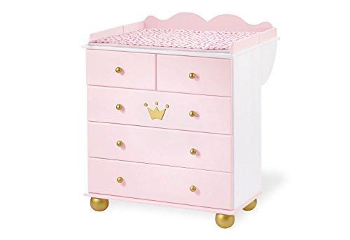 Pinolino Wickelkommode Prinzessin Karolin, romantische Wickelkommode, Wickelfläche 85 x 75 cm, Wickelhöhe 96 cm, Wickelansatz abnehmbar, Fichte, weiß und rosa lasiert und golden lackiert