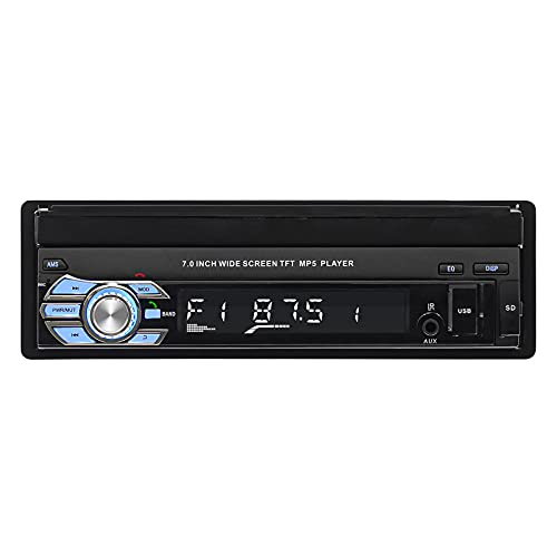 Mothcattl Estéreo para Automóvil Bluetooth, Reproductor MP5 para Automóvil Conexión Automática De Teléfono Móvil Bluetooth Telescópico Reproductor De Pantalla Capacitiva Radio Negro