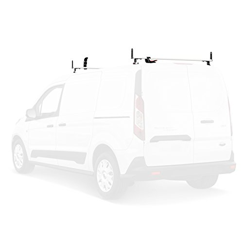 J2000 Aluminum Ladder Roof Rack 2 bar System with Accessories for a 2014-Newer Transit Connect White (Roof Rack For Ford Transit Connect Van)