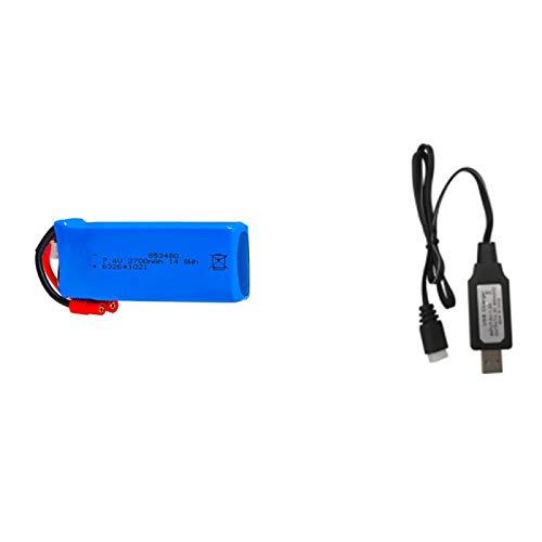 Grehod Batteria Lipo 2700mAh 7.4v + Set Caricabatterie per Syma X8W X8C X8G X8HC X8HW X8HG RC Drone Pezzi di Ricambio White