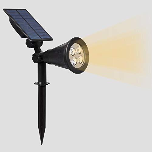 Zonne-gazonlamp, grondspot, waterdichte led-projectielamp voor buitenverlichting-4LED warm licht