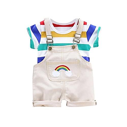 Wexuua Conjunto de ropa para bebé, niño, niña, verano, recién nacido, arco iris, manga corta, camiseta y pantalones cortos Blanco 12-18 Meses