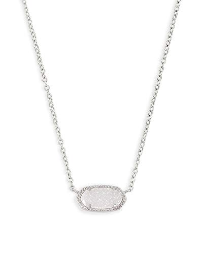 Kendra Scott Elisa Pendant Necklace for Women, Fashion Jewelry, Rhodium-Plated, Iridescent Drusy