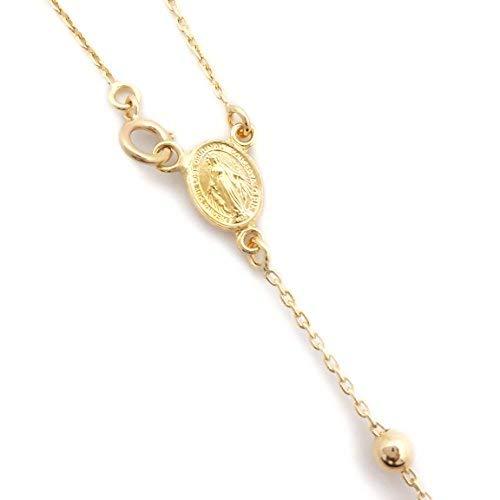 Rosario collar regalo hombre mujer símbolo madonna y cruz imagen sagrada oración en oro 18 kt Original Made in Naples