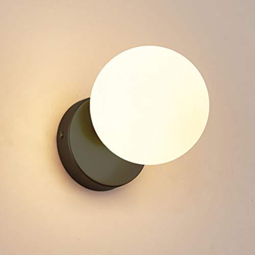 OSALADI Globus - Lámpara de pared para mesita de noche (cristal, para dormitorio, salón, pasillo)