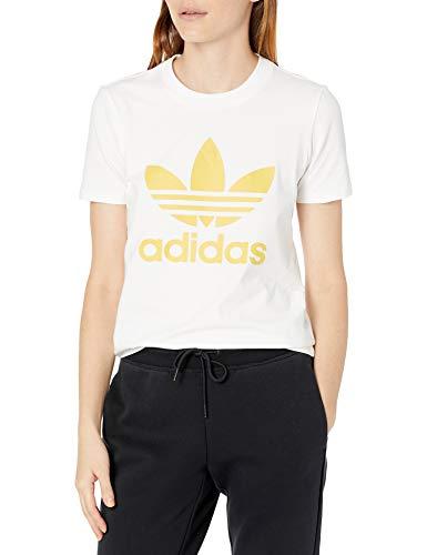adidas Originals Trefoil tee Camiseta, Blanco/Amarillo Núcleo, XS para Mujer