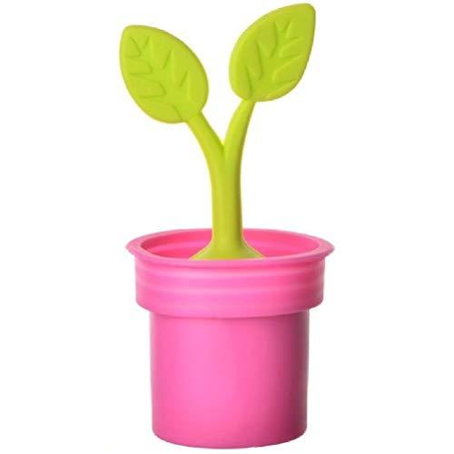 La Chaise Longue 31-K2-090 Infuseur à thé Plante verte en pot rose Silicone D5,5 x H11 cm