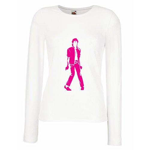 lepni.me Camisetas de Manga Larga para Mujer Me Encanta M J - Rey del Pop, 80s, 90s Músicamente Camisa, Ropa de Fiesta (Large Blanco Magenta)