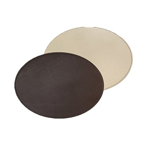 Freeform Duo oval, Schokobraun/Creme, Kunstleder, Maße: 45 x 34 cm Platzset, One Size
