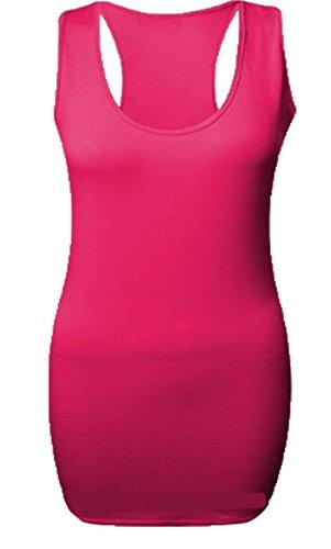 Vogueland Damen Bodycon-Top, lang, Racerbacken, Muskel-Oberteil, verschiedene Größen, XXXL (24-26), Fuchsia