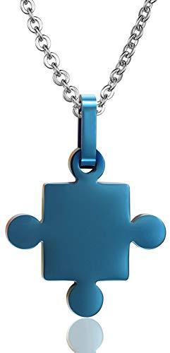 AueDsa Colgante Collar Acero Inoxidable Hombre Collar Azul Puzzle