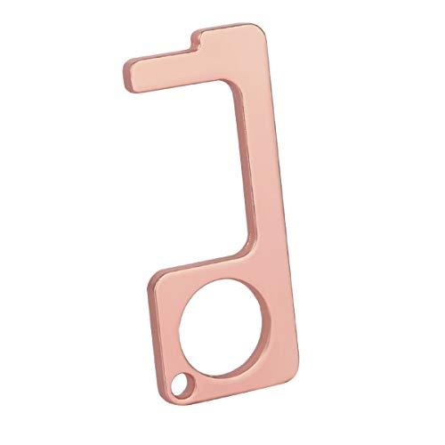 EDC Door Opener Brass Clean Key-No Touch Door Opener with Beer Bottle Opener-Portable Touchless Keychain Hand Tools for Button,Door,Elevator