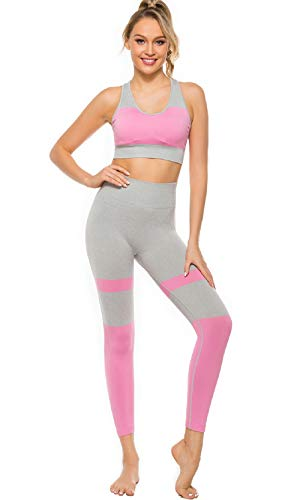 Seamless Workout Sets for Women 2 Piece with High-Waist Leggings and Supportive Sports Bra for Yoga Gym Home Fitness Pink S