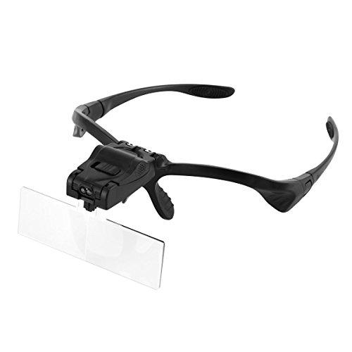 SOONHUA Lupe mit Kopfband Lupe mit Licht für enge Arbeit, Juwelierbrille Freihändiges Lesen mit 2 LED-Lampen und 5 austauschbaren Linsen (1.0X, 1.5X, 2.0X, 2.5X, 3.5X)