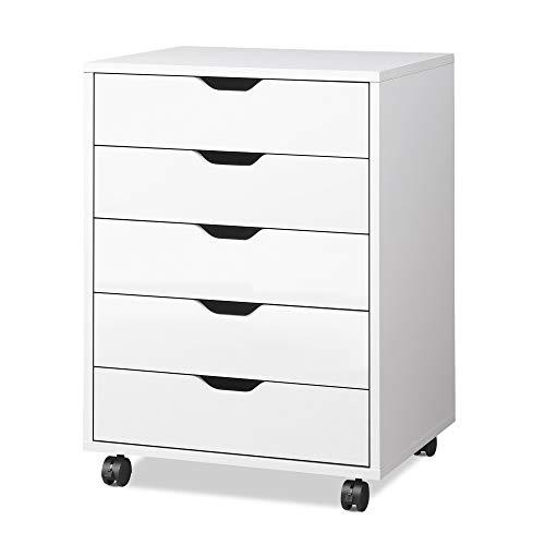 DEVAISE 5-Drawer Chest, Wood Storage Dresser Cabinet with Wheels, White