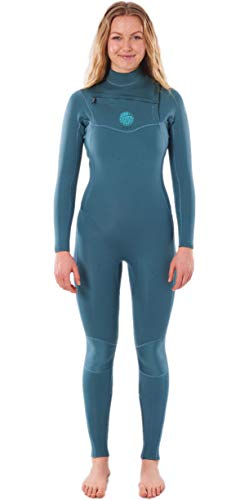 RIP CURL Damen Dawn Patrol Performance 3/2mm Chest Zip Neoprenanzug mit Reißverschluss - Grün - Easy Stretch Leichtes Flash-Futter Wasserdicht