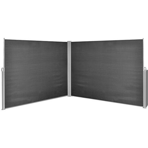 Festnight Ausziehbare Seitenmarkise Markise 180x600cm Standmarkise mit Standpfosten Sichtschutz Sonnenschutz Schwarz für Balkon Terrasse