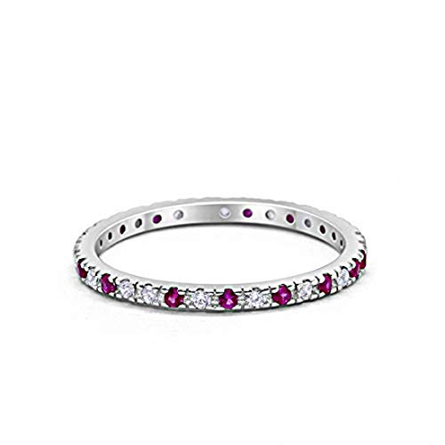 Blue Apple Co. 2mm Stackable Full Eternity Wedding Band Ring Round Alternating Simulated Ruby & Cubic Zirconia 925 Sterling Silver, Size-7