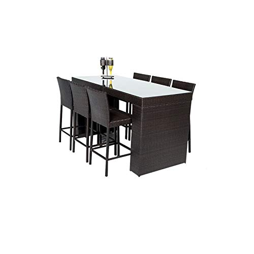 TK Classics BARTABLE-WITHBACK-6 Barbados Table Set with Barstools 7 Piece Outdoor Wicker Patio Bar Furniture, Espresso