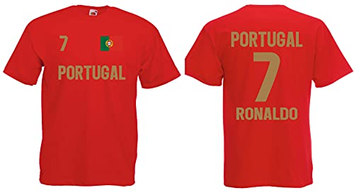Portugal Ronaldo Herren T-Shirt EM 2020 Trikot Look Style Shirt Rot M