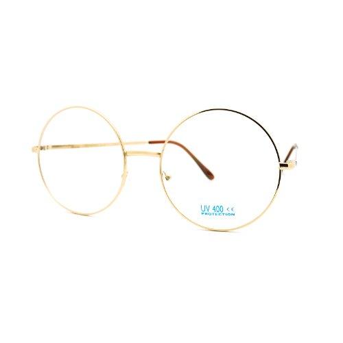 JuicyOrange Super Oversized Round Circle Frame Clear Lens Glasses Gold, Large