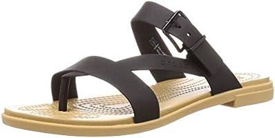 Crocs Women's Tulum Toe Post W Sandals Leisure and Sportwear, Multicolor (Oyster/Tan), 4.5 UK