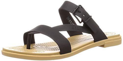 Crocs Women's Slide Sandals Leisure and Sportwear, Multicolor Black Tan, 8.5 us
