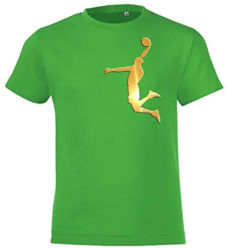 Dunk Basketball Slam Dunkin Kinder T-Shirt Green-Gold, Gr.164cm