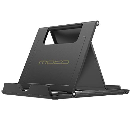 """MoKo Phone/Tablet Stand, Foldable Tablet Holder Fit with iPhone 13 Pro Max/13 Pro/13, iPhone 12/12 pro Max/11/Xs Max, iPad Pro 11, iPad Air 4/Mini 6 2021, iPad 9th 10.2"""", Black"""