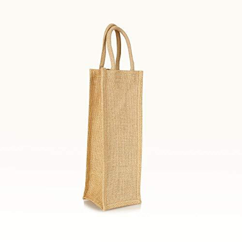Jute statt Plastik Original | BB1415SNG | Flaschentasche Natur/Gold | Jutetasche Bottle Bag | Fair & Nachhaltig | Getränke Geschenke Wein Sekt | 3er-Set