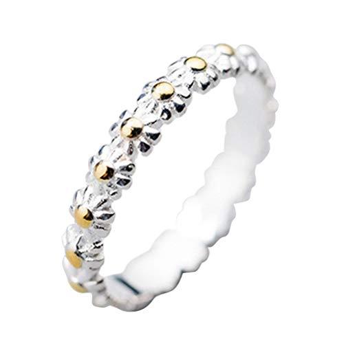 Qhome Anillo S925 de margarita, anillo de plata de ley, anillo abierto ajustable, para mujer, dulce y linda margarita, joyería regalo para boda, compromiso, fiesta, cumpleaños