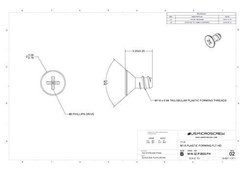 M1.6 X 3.2mm Plastic Thread Forming Screw Stainless Steel Black Zinc Flat Head Phillips Drive (100 Pcs) - M16-32-P-BSS-FH