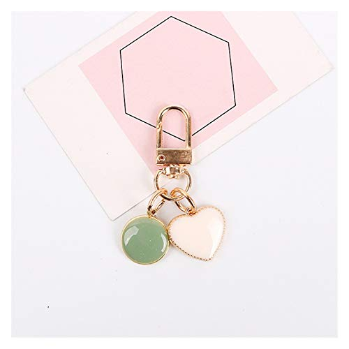 Dpsyszd Keychain Cute Dripping Oil Round Heart Keychain Earphone Cover Protective Fashion Keyring Women Bag Car Holder Jewelry Gift Small Trinket (Color : White green)