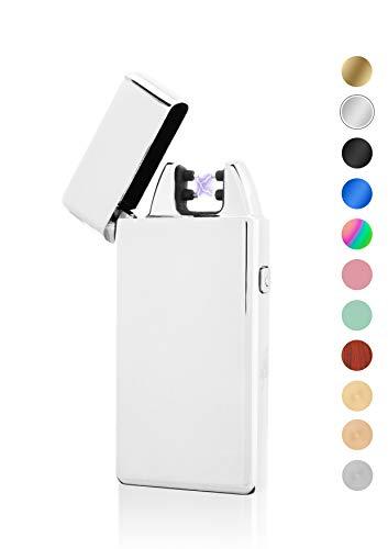 TESLA Lighter TESLA Lighter T05 Lichtbogen Feuerzeug, Plasma Double-Arc, elektronisch wiederaufladbar, aufladbar mit Strom per USB, ohne Gas und Benzin, mit Ladekabel, in edler Geschenkverpackung, Silber Silber