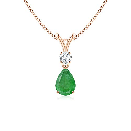 Prong Set V Bale Diamond and Emerald Necklace