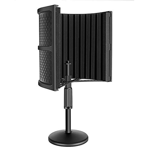 Neewer Schermo d'Isolamento Acustico NW-12 da Tavolo per Microfono con Base Rotonda Schiuma Fonoassorbente per Registrazioni in Studio Podcast Canto Trasmissioni (SENZA Microfono & Supporto Antiurto)