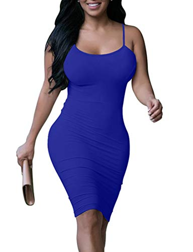 BORIFLORS Women's Sexy Bodycon Tank Dress Basic Midi Cami Club Party Dresses,Small,Royal Blue